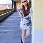 TIE DYE DRESS + BANDANA + OVAL SUNGLASSES