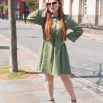 GREEN DRESSLILY BUTTON-UP DRESS
