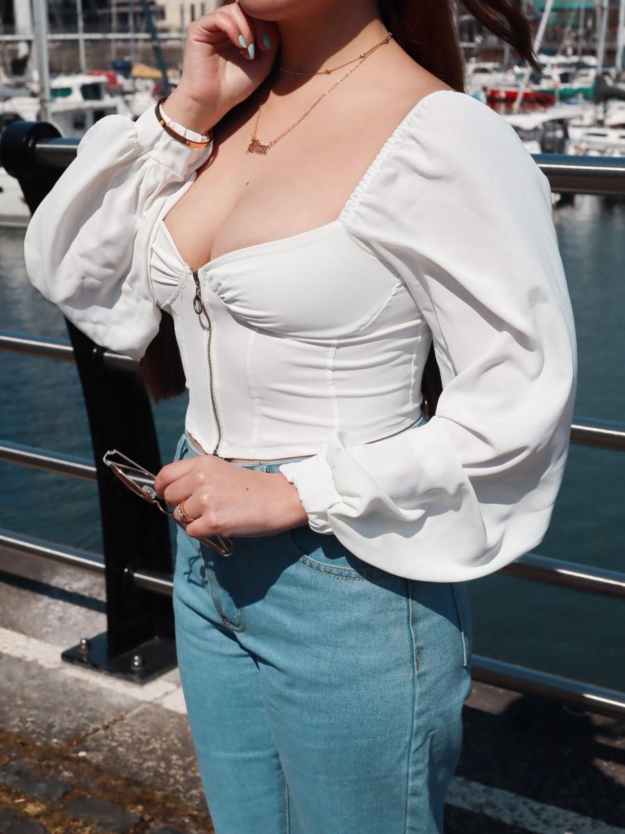 corset puff sleeve femmeluxe top brat necklace deborah ferrero style by deb