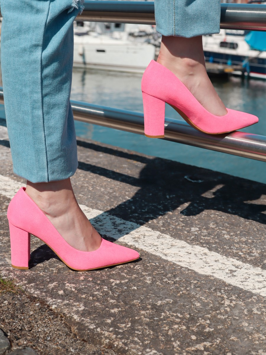 neon pink block heels everything5pounds