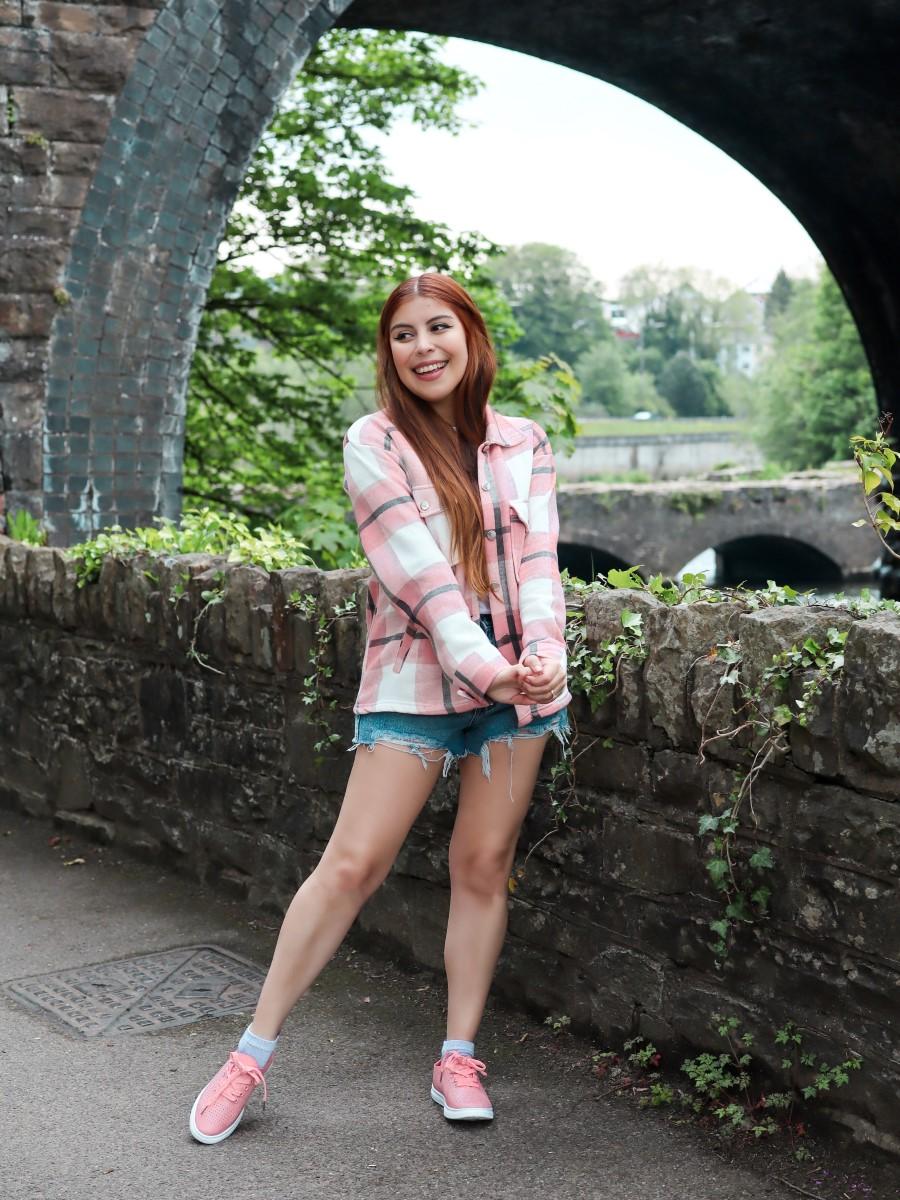 femmeluxe pink shacket and denim shorts