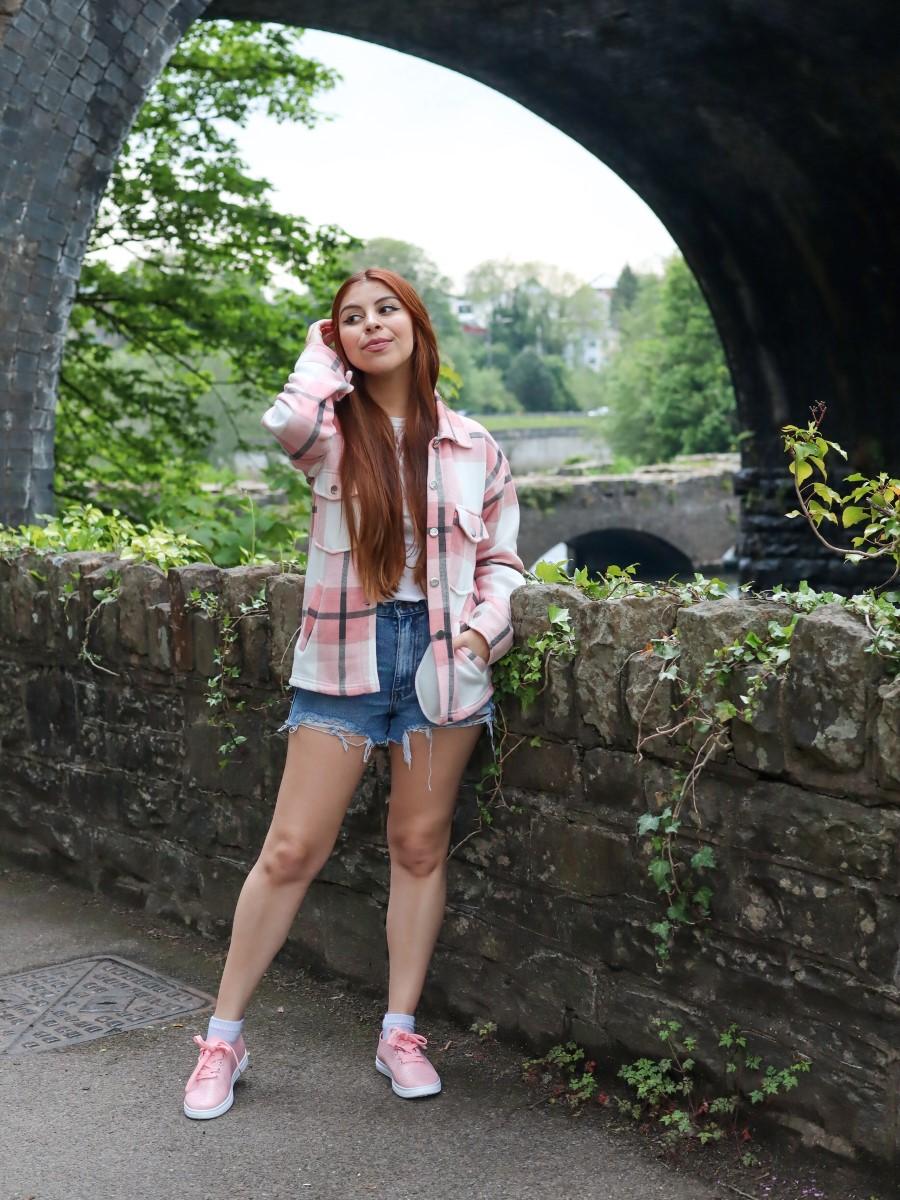 high waisted denim shorts femmeluxe pink plaid shacket