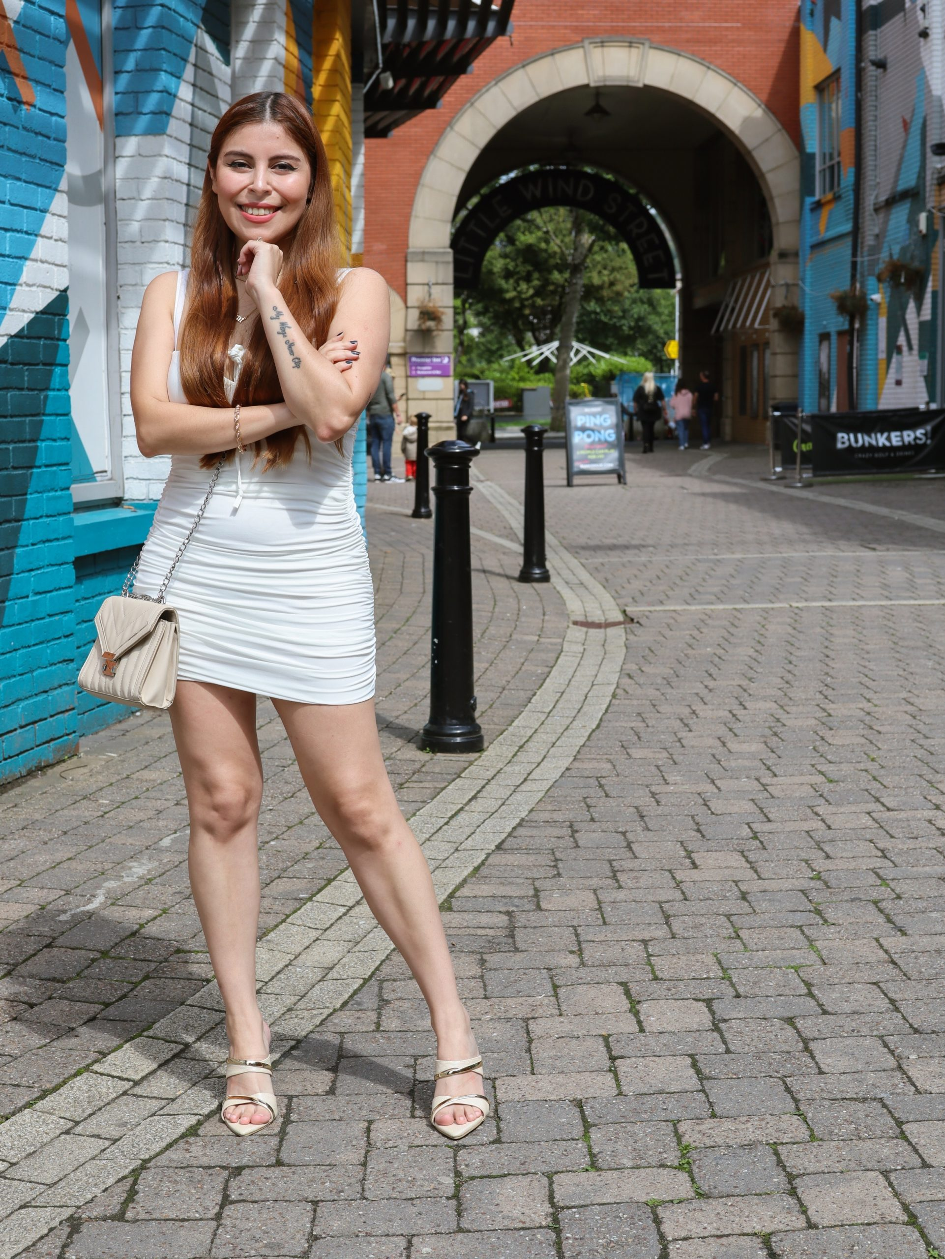 femmeluxe white ruched mini dress