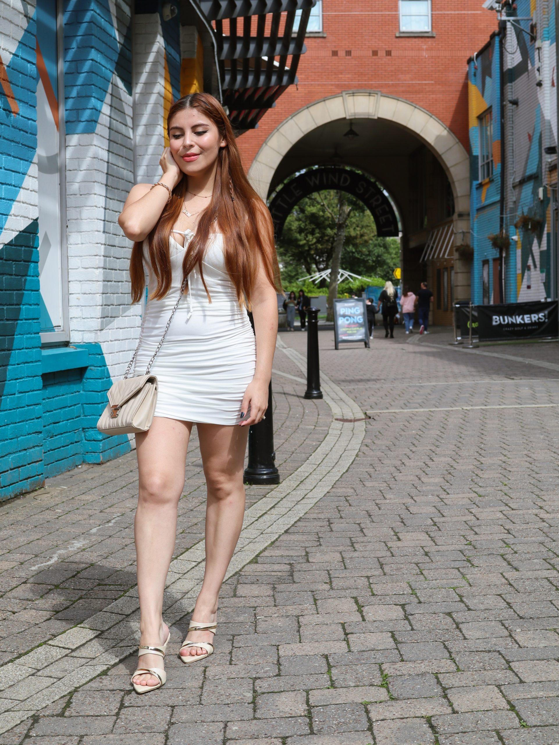 femmeluxe ruched white dresses